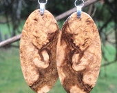 Burl Wood Earrings Lightweight Black Ash Local Wood
