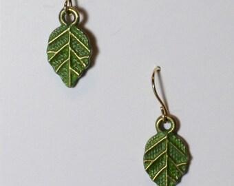 enameled Leaf with Swaroski crystal
