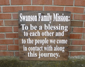 Family Mission Statement Sign, Family rules sign, Rustic wooden family sign, house rules sign, Family Statement sign,