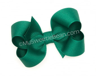 """Teal Boutique Bow, 3 inch Hair Bow, Teal Bow, Jade Blue, 3"""" Basic Bow for Baby Girls, Teal Green Bow, Classic Teal Bow for Toddler Girls"""