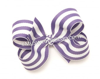 Lavender Striped Hair Bow, 3 inch Boutique Bow, Cabana Stripes, Preppy Striped Baby Bow, Toddler Girls Hairbow, Light Purple Striped Bow
