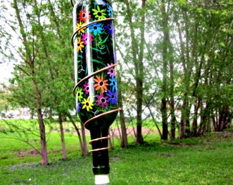 Hummingbird Feeder,  Recycled Green Wine Bottle, Hand Painted with Colorful Flowers, Bird Feeder, Wrapped in Copper Wire