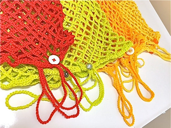 Crochet Vegetable Bag Pattern : Crochet Market Bag/Crochet String Bag/Produce Bag/Farmers