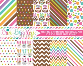 Easter Digital Papers Bunnies Owls Colorful Polka Dots & Stripes Holiday Digital Printable Paper Pack Instant Download