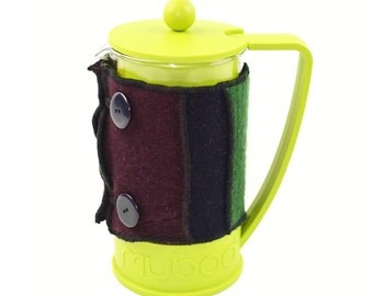 Bodum Cover in Upcycled Wool - French Press Coffee Cozy - Navy Burgundy Forest