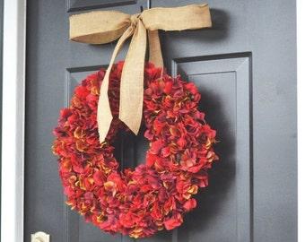 FALL WREATH SALE Red Apple Fall Hydrangea Wreath- Fall Wreath- Fall Decoration- Autumn Hydrangeas- Christmas Wreath- Thanksgiving Wreath- Do