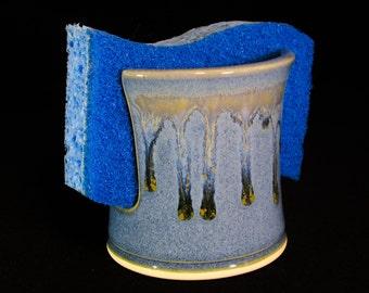 Kitchen Sponge Holder - Sink Sponge Keeper - Blue Pottery Sponge Caddy - Ceramic Sponge Dish - Spongeholder - In Stock