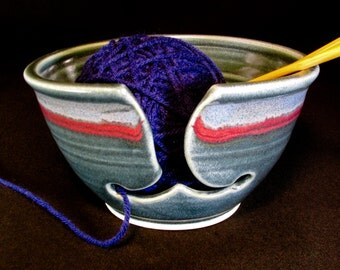 Yarn Bowl - Knitting Bowl - Knitting Gift - Knitting Caddy - Knitting Storage - Knitting Yarn Bowl - Blue Yarn Bowl - Gift for Gals -InStock