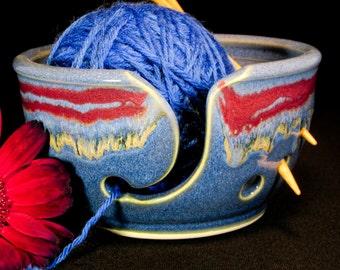 Yarn Bowl - Blue Knitting Bowl - Yarn Holder - Pottery Yarn Bowl - YarnBowl - InStock