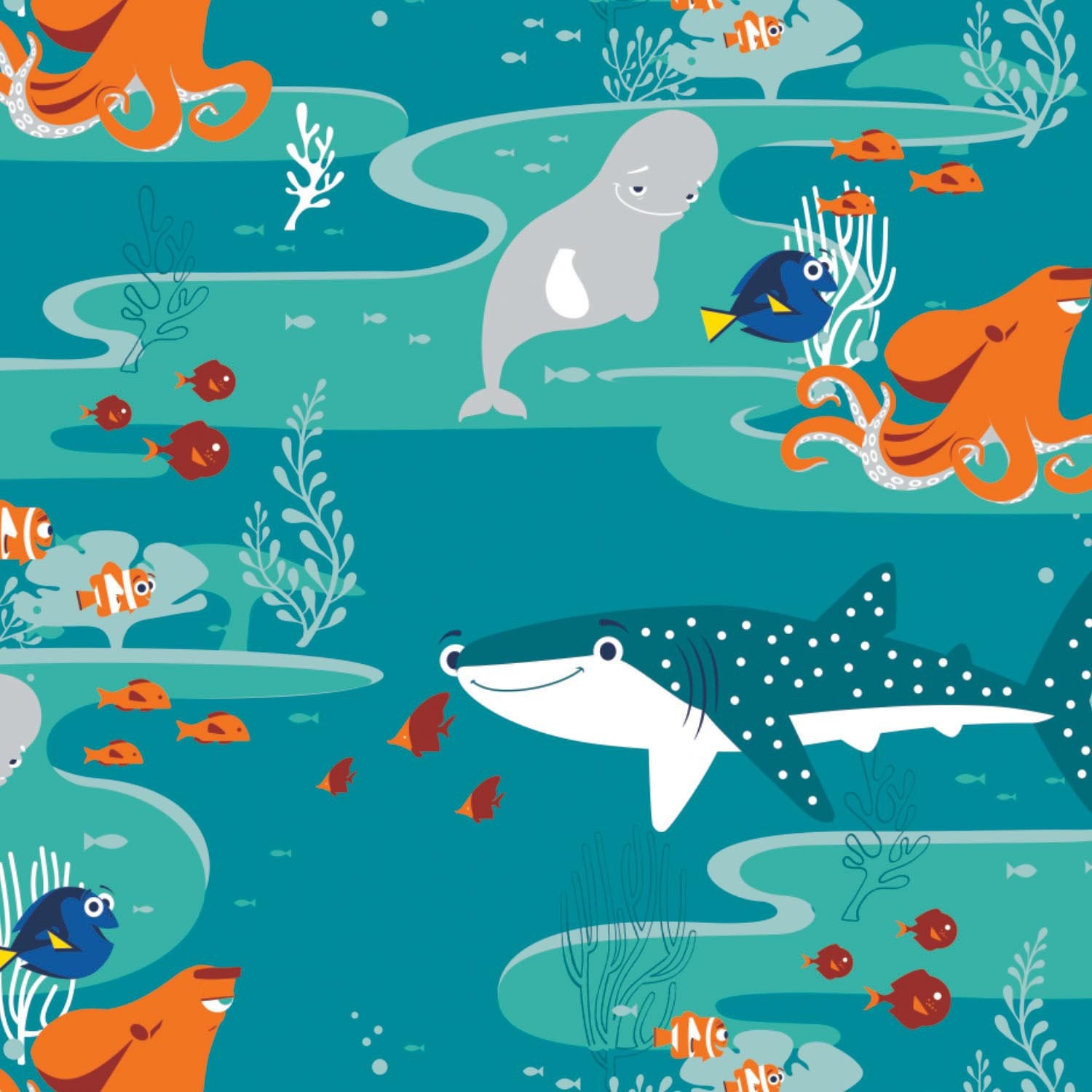 Dark turquoise finding dory children 39 s fabric by disney for Kids character fabric
