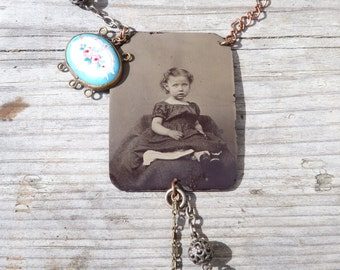 Victoire Assemblage necklace with Victorian tintype photography  & other Antique pieces