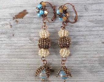 Pompoms handmade in France beaded Earrings