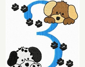 SALE 65% off Cute Birthday Numbers Puppy Dogs Machine Embroidery Designs Instant Download Sale