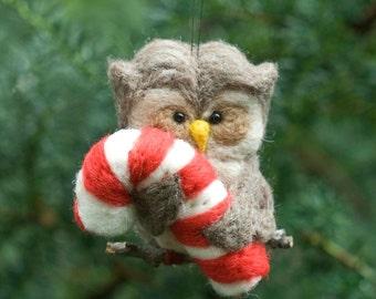Needle Felted Owl - Holding Candy Cane