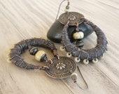 Silk Wrapped Hoop Earrings, Tribal, Bohemian, Gypsy Hoops, Dark Forest Green, Eco Friendly Handmade Jewelry