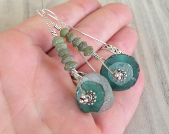 Primitive, Roman Glass and Sterling Silver, Drop Earrings, Asymmetrical