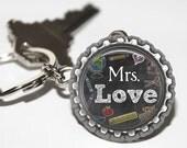 ON SALE - PERSONALIZED Teacher Chalkboard Bottlecap Keychain - Teacher Appreciation, Thank You Gift, Back to School, Holiday Gift
