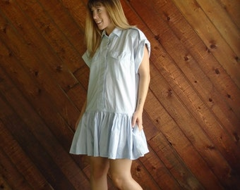Pastel Blue Mini Drop Waist Dress - Vintage 80s - LARGE Petite