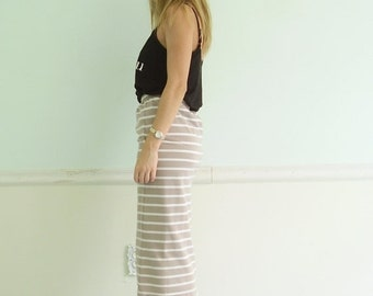 extra 30% off SALE ... 90s Taupe and White Stripe High Waist Mid Calf Bodycon Pencil Skirt - S M