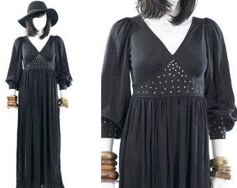 Vintage 1970s Sundress Festival Black Bubble Sleeve Boho Rhinestone Party Dress