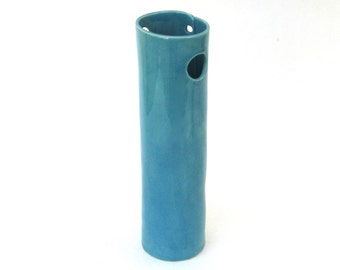wonderful whimsical hand built porcelain vase ...  vessel  ...  teal blue