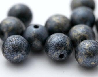 Vintage Lucite Beads Metallic Deep Blue Gold Round 10mm (20)