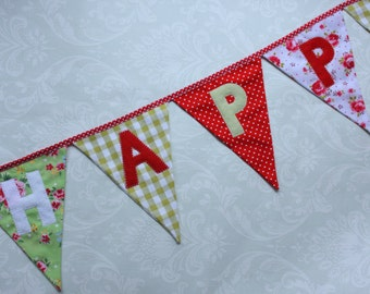 Fabric Bunting with Happy Birthday Banner Red Green Roses Custom made to order Birthday Party Wedding Celebration Photo prop