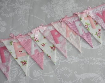PRETTY PINKS Wedding Birthday Party Baby Shower Photo Prop Fabric Bunting Banner Custom Made to Order Personalized PRICE Per Flag