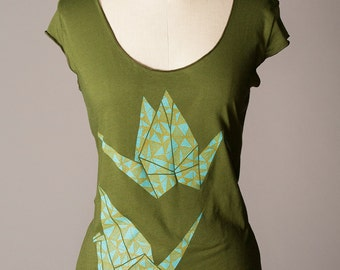 womens shirt, paper crane shirt, origami shirt, good luck gift