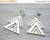 Sale 20% OFF Aztec Earrings, Mexican tribal inspired jewelry, geometric triangle posts, gold silver studs