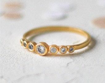 14k Gold Seven Stone Diamond Ring, Anniversary Diamond Ring, Gold Engagement Ring, Real Diamond Eternity Ring, 7 Stone Diamond Ring