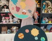 Custom Made Nursery Cushion Set, World Map, Solar System.