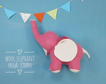 Wool Elephant, Handmade, Stuffed Animal, Toy, Children, Plush