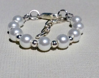 Baby White Pearl Bracelet with Grow With Me Extension Chain, Sterling Silver Plated