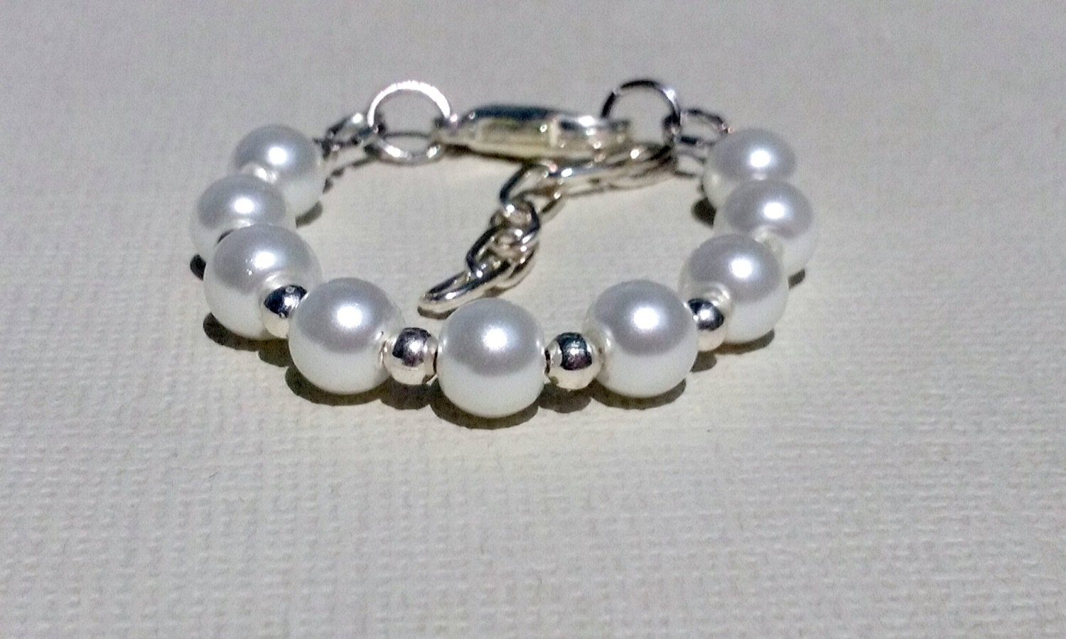 baby white pearl bracelet with grow with me extension chain