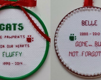 Pet Memorial Ornaments II- counted cross stitch chart - downloadable chart