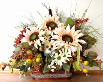 Owl Autumn Fall Floral Arrangement With Sunflowers, Berries, Pumpkins & Grasses