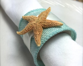 Sugar Starfish Napkin Ring with Sea Ribbon - Beach Wedding - seashore - shells
