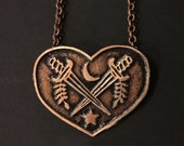 Crossed Heart Necklace - Crossed Daggers Necklace - handmade from copper in my studio -