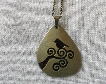 Birdie Necklace - bronze