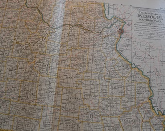 1899 State Map Southern Missouri - Vintage Antique Map Great for Framing 100 Years Old