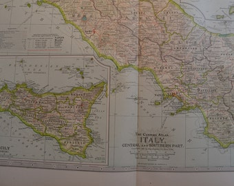 1899 Map Central and Southern Italy - Vintage Antique Map Great for Framing 100 Years Old