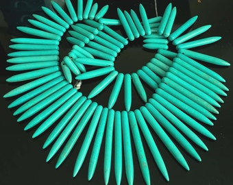 "20-48mm Blue Turquoise Graduated Spike Beads 17"" (e3659)"