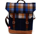 Waxed Canvas Messenger Bag / Chuck Plaid Vintage Wool with Oiled Leather READY TO SHIP