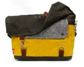 Waxed Canvas Messenger Bag / Black & White Taxi Wool and Yellow Waxed Canvas