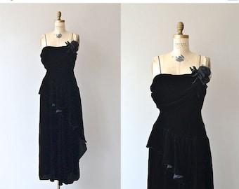 25% OFF.... Virtuosa silk velvet dress | 1940s black velvet dress • vintage 1940s dress