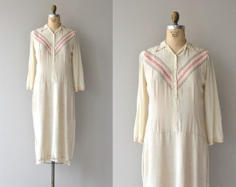 Sofiya silk and linen dress | vintage 1920s dress | silk 20s dress
