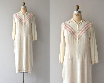 Sofiya silk and linen dress | vintage 1920s dress | silk 20s dress