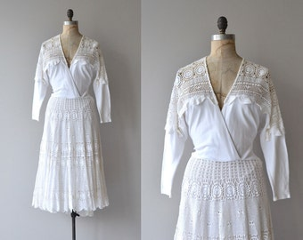 Santorini dress | vintage 1980s crochet dress | white crochet 80s dress