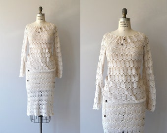 Sausalito crochet two-piece dress |  1970s crochet sweater and skirt | vintage 70s crochet dress